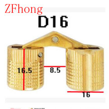 4PCS 16mm Copper Barrel Hinges Cylindrical Hidden Door Cabinet Concealed Invisible Brass Hinges Mount Furniture Hardware