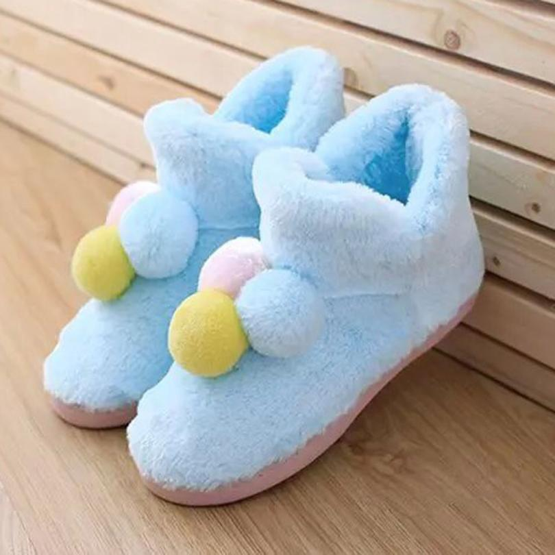 Naivety New Winter Women Home Shoes Cute Three-color Balls Warm Pregnant Shoe 30S61122 drop shipping<br><br>Aliexpress