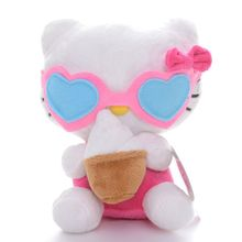 Cute Hello Kitty Plush Pink Ice Cream Hello Kitty Cat Wearing Glasses Plush Kids Girls Home Decor Doll Toy 7'' Brand New