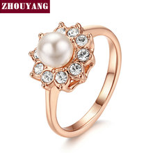 Simple Imitation Pearl Rose Gold Color Ring For Girl Women Party Wedding Jewelry Full Sizes Top Quality Wholesale ZYR253