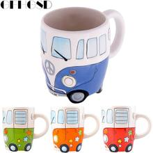 GFHGSD 1pcs Cartoon Double Decker Bus Mugs Hand Painting Retro Ceramic Cup Coffee Milk Tea Mug Drinkware Novetly Gifts