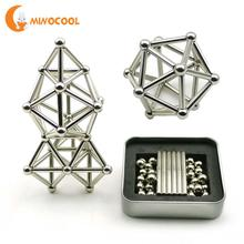 36PCS Magnetic Sticks & 27PCS Steel Balls Toy Innovative Buckyballs Metal Sticks  Magnetic Constructor Toys for Building Models(China)