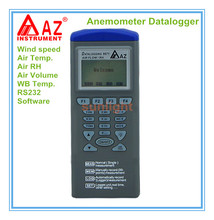 Anemometer Air Flow Datalogger Wind speed Air Temp. Air RH Air Volume WB Temp. 5 in 1 with Software