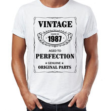 Men's 30th Birthday T-Shirt Est 1987 Vintage Man Thirtieth 30 Years Funny Gift Men Short Sleeves T Shirt Top Tee Kawaii