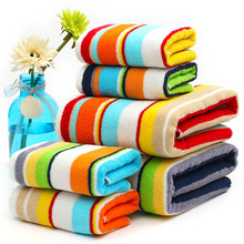 2016 New 3 pieces/lot 600g 100% cotton Striped bath towel set soft 2 color bathroom beach cheap washcloth