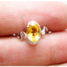 Trendy silver natural gemstone ring 6mm8*mm 1ct natural citrine silver ring solid 925 sterling citrine ring for woman