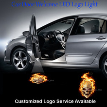2 x Flaming Skull Ghost Rider Logo Car Door Welcome Step Courtesy Laser Projection Ghost Shadow Puddle LED Light #C0326