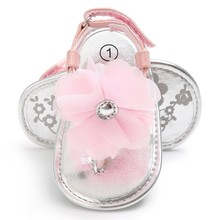 Newborn Baby Sandals Princesses Infant Kids Girl Big Flower Cute PU Summer Shoes Pink Yellow Black White(China)