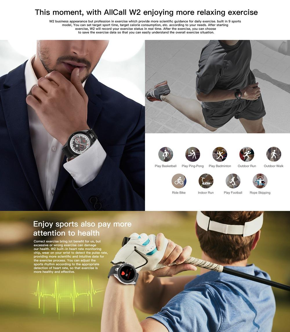 ALLCALL W2 Smartwatch Phone Android IP68 waterproof Smart watch MTK6580 Quad Core GPS Bluetooth clock with pedometer 307391 23