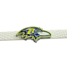 20Pcs Football Team Slide Charms 8mm Enamel American Football Team Baltimore Ravens Slide Charms Fit DIY Necklace & Bracelet(China)