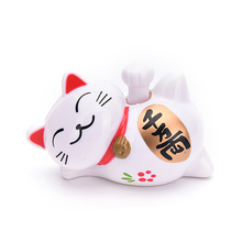 1 Pcs 8X11CM Solar Powered Craft Lucky Waving Beckoning Fortune Cat Home Decor Cartoon Style