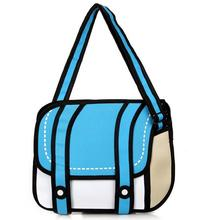 2016 New Fashion 2D Bags Novelty Back To School Bag 3D Drawing Cartoon Comic Handbag Lady Shoulder Bag Messenger 6 Color Gift