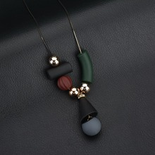Bohemia ethnic style elements black green chocolate gray ball geometric fashion snake chain charm long Necklace women