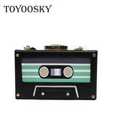 TOYOOSKY Personality transparent tape cassettes evening clutch bag acrylic hard box clutch high-end hand bag small party purse(China)