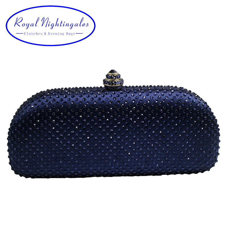 Elegante Navy Blue Crystal Box Clutch Bag Purses Rhinestone Evening Bags