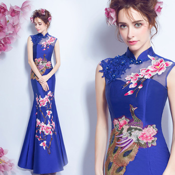 chinese style wedding traditional elegant cheongsam dress lace red blue white qipao long dragon and phoenix long mermaid