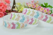 "Free shipping 7/8"" 22mm Easter Rabbit painted eggshell Printed grosgrain ribbon hairbow DIY handmade wholesale OEM 50YD()"