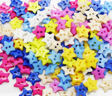 200Pcs 12*12mm 2 Holes Mixed Striped Stars Buttons Filatback Sewing Accessories Cabochon Scrapbooking Buttons