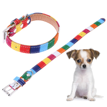 Colorful Dog Collar Rainbow Canvas Leather Dog Collar Adjustable Plain Neck Collar For Pet Dog Pet Supply Size S M L