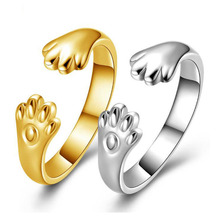 2017 New Fashion Design Gold Color Ring Love Cute Romantic Cat Claws Rings for Women Party Gift Rings for Girls Gift