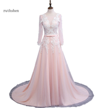 ruthshen Long Sleeves Evening Dresses 2017 Elegant Lace Appliques  Cheap Formal Prom Gowns Pink Robes De Soiree
