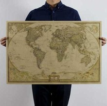 Large Vintage World Map Home Decoration Detailed vintage Poster Wall Chart Retro Paper Matte Kraft Paper Map Of World