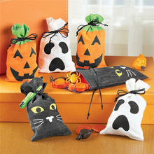 Creative Halloween Pumpkin Ghost Kids Trick-or-Treat Candy Bags Non-woven Black Cat Gift Drawstring Bag Halloween Kids Toys(China)