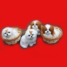 Small plastic animal toy cat figure in basket Mini figura perros dog model Plastic miniature animal toy gift kids action figure