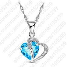 JEXXI Candy Color Hot Women Lady Heart 925 Sterling Silver Pendant Necklace Jewelry With Cubic Zirconia For Lover Gift 9 Colors