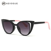 AEVOGUE Sunglasses Women 2016 Newest Stitching Color Temple Metal Hinges Cat Eye Sun Glasses Brand Designer UV400 AE0344