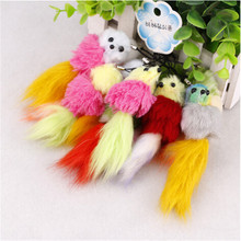 5pcs/set 2017 Rabbit Fur Keychain PomPom Cell Phone Car Bag Keychain girl Bird Tag hanging Pendant Strap Charm Tassel Key Ring