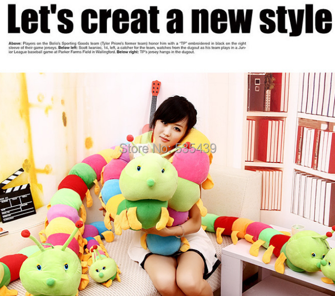 HOT ! NEW 1pcs very cute baby toys Colorful caterpillars millennium bug doll large caterpillar hold pillow doll plush toy 80 cm<br><br>Aliexpress