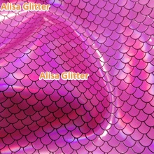 2PCS 21X29cm Alisa Glitter Faux Leather Fabric Mermaid Fish Scales Leather Pu leather Fabric For Bow DIY Wallpaper GM25