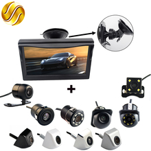 "2In1 Car Parking System Kit 5"" Sucker Bracket Color Monitor 5 Inch TFT LCD HD Display Screen + Waterproof Rear View Camera(China)"