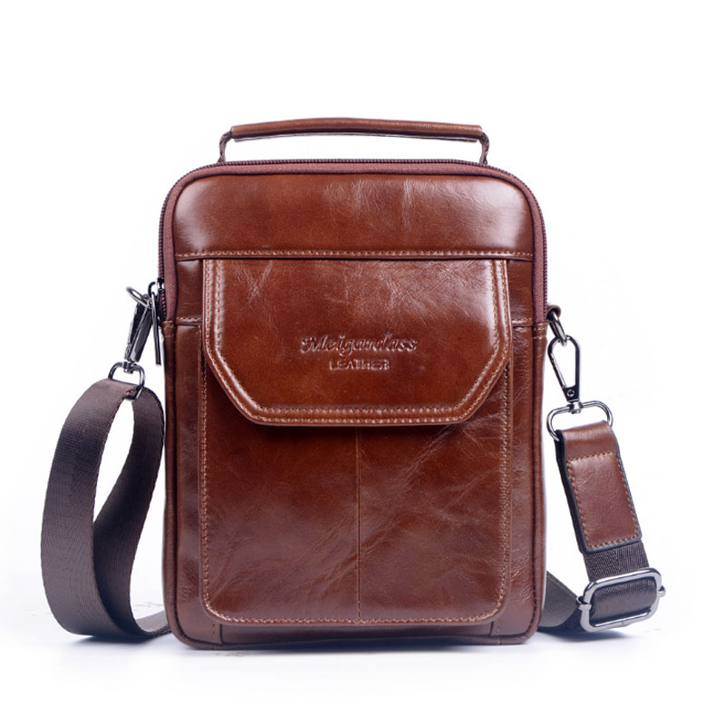 Oil Wax Genuine Leather HandBag Men Vintage First Layer Cowhide Tote Messenger Shoulder Pack Cell Phone Pocket HandBags<br>