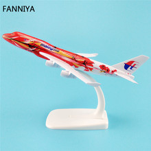 16cm Metal Airplane Model Air Malaysia Red Flower B747 400 Airlines Boeing 747 Airways Plane Model W Stand Aircraft  Gift