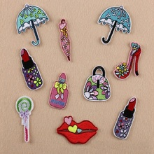 Iron On Patches DIY Embroidered Patch sticker For Clothing clothes Fabric Badges Sewing handbag umbrella lip design