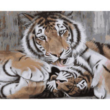 Urijk DIY Modular Two Loving Tigers Oil Painting By Numbers Without Frame Canvas Paintings On The Pictures Living Room 40x50cm