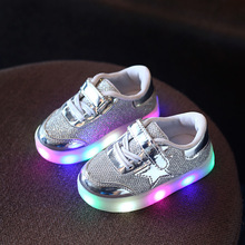 Led schoenen kids 2017 autumn new fashion glowing light boys and girls sports shoes casual shoes five-pointed star shoes