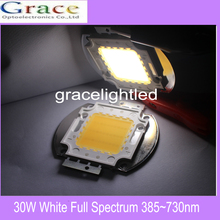 30W High power LED chip Aquarium lamp 380Nm- 780Nm  Full Spectrum White Aquatic Plant Grow Blub Sea Grass Water Coral