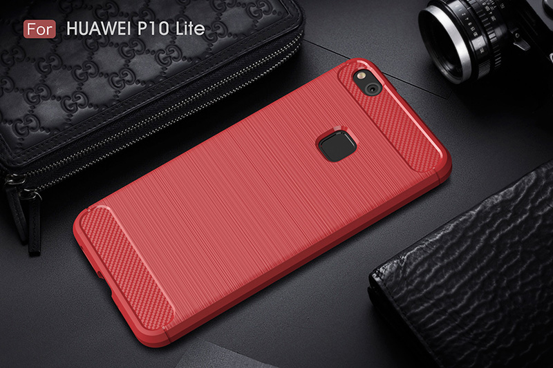 carbon fiber brushed silicone case huawei P10 Lite (13)