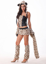 New Sexy Leopard Cat Suits Adult Wolf Costumes With Tail Fancy Cosplay Costume For Women Halloween Party Fur Animals Cats R700