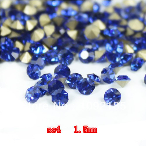 SS4 14400Pieces 100Gross Point Back Rhinestone Sapphire Color Point Back Chaton Free Shipping<br>