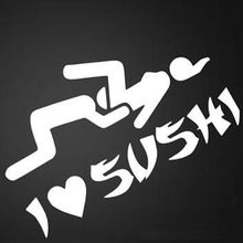 I love Sushi Funny Novelty Car Decal Window Truck Bumper Auto Laptop Sticker