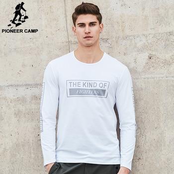 Pioneer Camp New arrival brand T shirt men fashion printed T-shirt male  top quality elastic soft comfortable Tshirt for men
