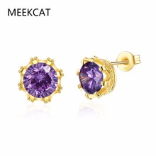 MEEKCAT Crown Queen Princess Stud Earrings Classic Gold Color Earring Round Cut SONA Wedding Earrings Brincos For Women Gift