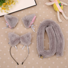 Night Party Club Bar Wearing Decorate Headband Fur Ear Pattern Hair Cat Bell Clips For Women Fox Cat Ear Hair Hoop ZHairpin Tail