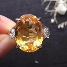 ON SALE only one piece gems 12*16mm  s925 silvery fine jewelry 925 sterling silver natural citrine ring promise ring