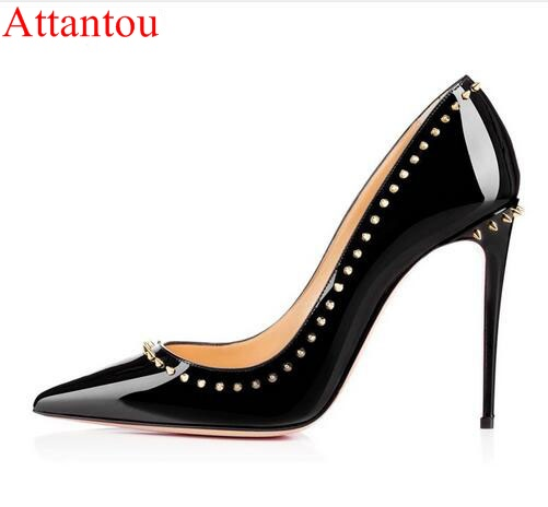 Designer Thin High Heel Shoes Woman Sexy Pointed Toe Pumps Fashion Stylish Rivets Heeled Footwear Shoes 10/12cm heels dress shoe<br>