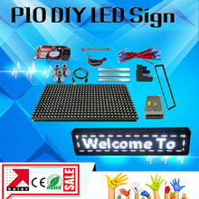 kaler P10 White led message display 25*137cm programmable led panel outdoor p10 module XU2 led controller free shipping(China)